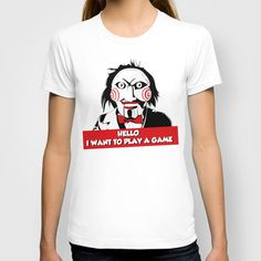 Hello, I Want To Play A Game by Selena.squarzanti  T-SHIRT / WOMENS FITTED TEE SLATE $22.00