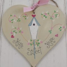 Shabby Chic Hand Painted Wooden Heart