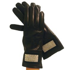 Black Leather Gloves With Rhinestones Stripe. Lined in Cashmere.