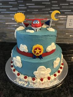 Super Wings Jet cake from Bahamas episode w/ birthday party #superwings #birthday #cake #jet