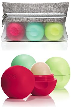 EOS Lip Balm Smooth Sphere Holiday Bag $9.99 http://www.refinery29.com/13415#slide1 EOS Lip Balm Smooth Sphere Holiday Bag—This set of round little numbers contains three organic, all-natural lip balms in honeysuckle honeydew, sweet mint, and limited edition pomegranate raspberry flavors. $9.99, available at Target.