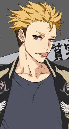 Terushima Yuuji (Haikyuu!!), yellow hair, blond, black eyes, earrings, piercings