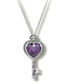 Harley-Davidson® Purple Heart with Marcasite Key Necklac