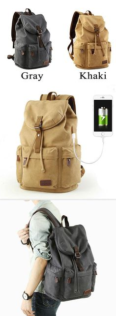 73bdf09483cb Retro Large Capacity Rucksack With USB Interface Flap Camping Travel Canvas  Backpack