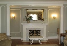 fireplace mantel and wall panels with fluted pilasters - #interiors #walldecor #panels #pilasters - #fireplace #fireplaces #fireplacemantels