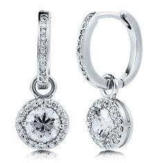 BERRICLE Cubic Zirconia CZ 925 Sterling Silver Dangle Hoop Earrings
