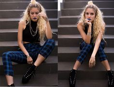 Manuela Gomes - Choies Plaid Pants, Mart Of China Fake Heelbound Heels - I was born bad, then I met you