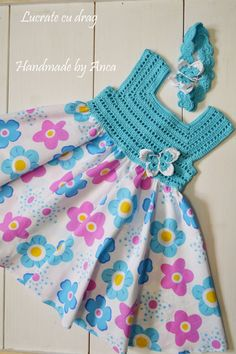 "diy_crafts- This post was discovered by M. ""A Collection of Crochet Girls"", ""Para la princesa en turquesa \""Discover thousands of images about Crochet Dress Girl, Crochet Girls, Crochet Baby Clothes, Crochet For Kids, Crochet Summer, Crochet Dresses, Crochet Yoke, Crochet Fabric, Diy Crochet"