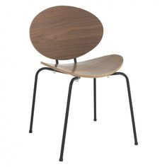 SAXO Curved walnut veneered dining chair