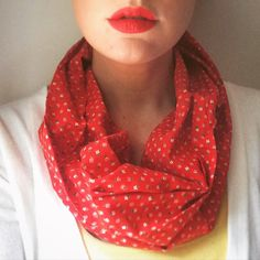 Lightweight Fabric Infinity Scarf in Red by YouandIHandmadeGifts