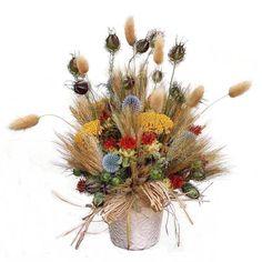 Asztaldísz natúr szárazvirágokkal - Szárazvirág díszek webáruháza Christmas Wreaths, Floral Wreath, Holiday Decor, Plants, Home Decor, Floral Crown, Decoration Home, Room Decor, Plant