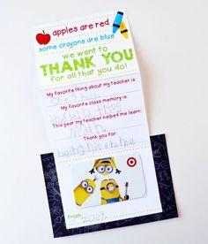 Teacher Appreciation Gift Card Holder