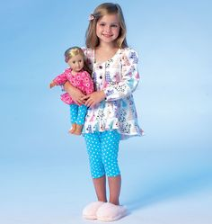 """Children's/Girls'/18"""" Doll Tops, Dress and Leggings, M7043 http://mccallpattern.mccall.com/m7043-products-49083.php?page_id=96 #mccallspatterns"""