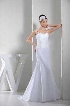 Spaghetti Straps Mermaid Empire Court Train Sleeveless Zipper Wedding Dress