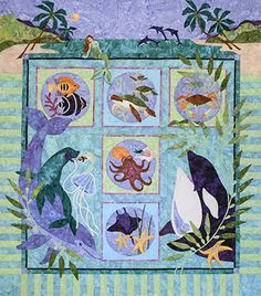 Karen Brow's Symphony in Sea - LOVE Java Quilts - she has good design and a sense of humor in her animal quilts.