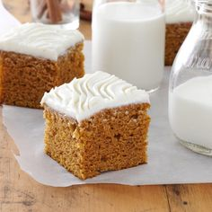 Harvest Pumpkin Brownies Recipe -These lightly spiced pumpkin brownies are a nice change from the typical dessert. —Iola Egle, McCook, Nebraska
