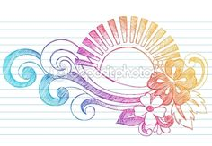Sketchy Summer Sunset and Tropical Hibiscus Flower Doodle Vector by blue67 - Stock Vector
