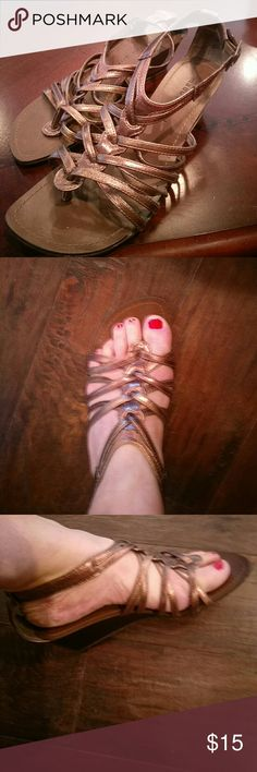 Madden  Girl Bronze Short gladiator sandals 6.5 Size 6.5 Bronze colored strappy short gladiator wedge sandals wore 1X. Lil too small for me but needed them for a dress with bronze accents..   new$45 asking$15 OBO Madden Girl Shoes Sandals