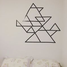 Geometric ducttape on the wall  #geometric #ducttape #triangle #wallart #diy #art #decor #wall