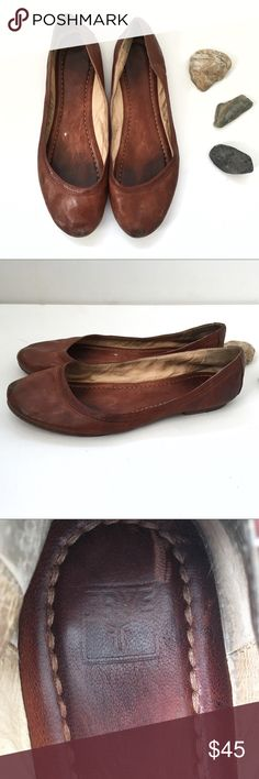 "Frye Carson Ballet Flats Weathered brown leather ""Carson"" Frye Ballet flats. Wear as pictured in photos. Worn in vintage look. Love them, but they are too big for me! Frye Shoes Flats & Loafers"