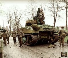 A Sherman tank of the 66th Armored Infantry Regiment, 2nd Armored Division, probably during the offensive in the province of North Rhine-Westphalia; April 1945.