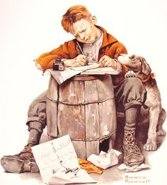 images of norman rockwell on puppies | Norman_Rockwell_Little_boy_writing_a_letter