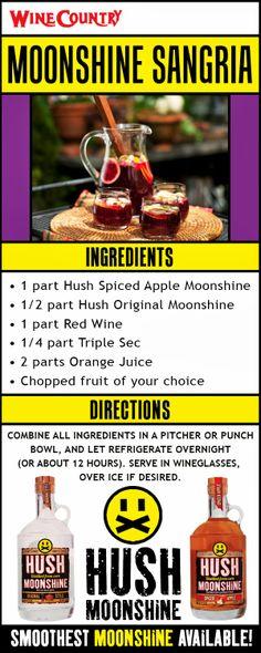 Moonshine Sangria • 1 part Hush Spiced Apple Moonshine • 1/2 part Hush Original Moonshine • 1 part Red Wine • 1/4 part Triple Sec • 2 parts Orange Juice • Chopped fruit of your choice  #sangria #moonshine #cocktail #drink #recipe