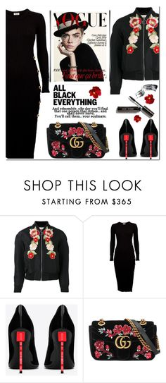 """All Black Everything: One day you will find that one person..."" by vittorio-1 ❤ liked on Polyvore featuring Gucci, Yves Saint Laurent, Bobbi Brown Cosmetics, vintage, autumn, allblack, women, polyvoreset and vintageflorals"