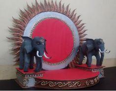 Paper Elephant (हत्ती) Diy Diwali Decorations, Stage Decorations, Flower Decorations, Diwali Craft, Diwali Diy, Thermocol Craft, Ganpati Picture, Ganesh Chaturthi Decoration, Styrofoam Art