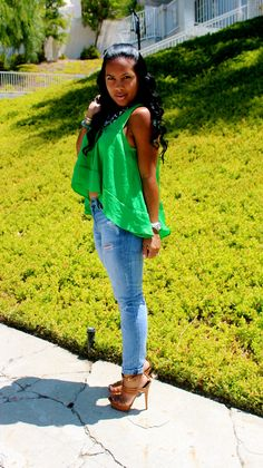 Zara top and necklace, current elliot jeans, chanel bag and YSL heels
