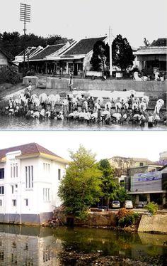 Stadsgezicht in Batavia met op de voorgrond een wasplaats, 1900 ,.,, pemandangan jl Antara, Jakarta, 2012