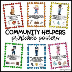 Community Helpers Printable Posters Learning about community helpers is important for little ones. They need to know the types of jobs people do to help the community keep running. I created a set of community helpers printable posters to help teach this. Community Helpers Lesson Plan, Community Helpers Kindergarten, Community Helpers Activities, School Community, Preschool Activities, Space Activities, The Community, Preschool Lessons, Preschool Education