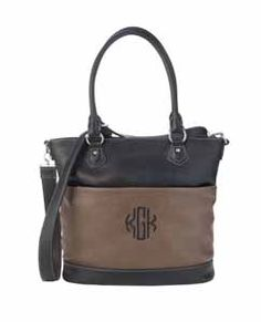 The Signature Metro in Black/Chocolate~Just received this with a circle monogram. This bag has a lovely aqua fabric liner. This bag is simply divine. ~www.myinitials-inc.com/PAMELASTONE/
