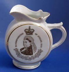 Antique Queen Victoria Jubilee British Pottery Water Jug Moon Shape