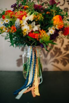 Colourful Wedding Wild Natural Ribbon Bouquet Bridal http://www.lisadevinephotography.co.uk/