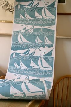 'Yachts' wallpaper, here in sea-blue all other colours available Hand-printed by Anneliese Appleby www.annelieseappleby.co.uk