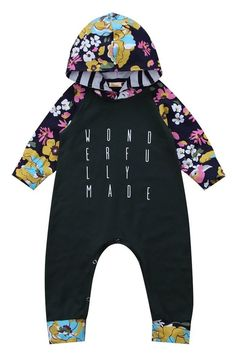 98ab803abc8 Long sleeve baby girl hooded romper. Wonderfully made printed on the front.  Adorable floral. Kicking Kangaroo