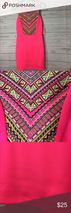 NWT neon embroidered dress New with tags!!!! Super cute bright pink dress with an embroidered bodice. Zips up the back. The fabric has indentions in the front from what I assume to be from shipping to the store; pictured last. Since it hasn't been washed, it may fluff back up. Gianni Bini Dresses