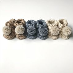Neutral coloured baby booties Baby Booties, Baby Shoes, Pom Pom Baby, Gender Neutral Baby Clothes, Handmade Baby Gifts, Wooden Gifts, Booty, Kids, Color