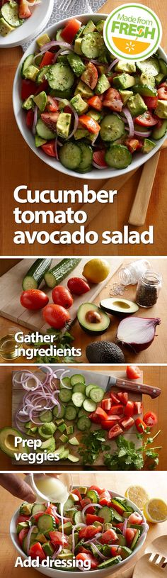 Creamy avocados, crisp cucumbers, and rich Roma tomatoes make this fresh summer salad a mouthwatering side packed with flavor and texture you have to try to believe. Find these fresh ingredients at your local Walmart.