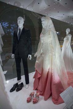 Gwen Stefani's wedding dress designed by John Galliano for Dior, Gavin Rossdale wedding suit designed by Hedi Slimane for Dior, 2002. [Courtesy Photo]