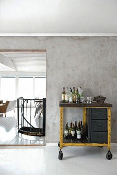 Love this bar cart -- and wouldn't it be fairly easy to create if you could find a vintage industrial cart?