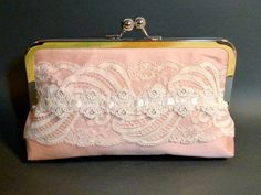 Bridal Clutch Blush Pink Silk with Ivory Victorian Lace Romantic Wedding. $60.00, via Etsy.