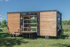 It's not very often that we get to see a tiny house on wheels that manages to incorporate so many features into under its small shell. Tiny House Luxury, Best Tiny House, Tiny House Plans, Tiny House Design, Tiny House On Wheels, House Floor Plans, Tiny Houses For Sale, Little Houses, Alpha Tiny House