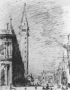 The Piazzetta Looking towards the Torre dell'Orologio by CANALETTO #art