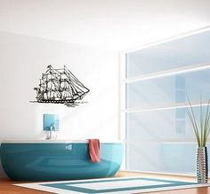 WALL VINYL STICKER DECALS ART MURAL SAILING SHIP CUTE DESIGN BATHROOM SV1981