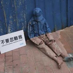 Don't Ignore Me - Transparent homeless child  StreetArt Campaign China. This is awesome!