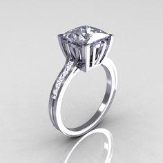 Modern Italian 14K White Gold 2.0 Carat Princess White Sapphire Channel Diamond Solitaire Ring R312-14KWGWSD-1