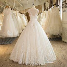 SL-1 New Arrival A-Line Sleeveless Tulle Lace Appliques Wedding Dress 17 #wedding #weddingdress