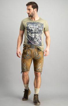 Men/'s Set Lederhosen dark brown+Straps+Beige braid Socks+Shirt Blue Oktoberfest